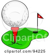 Royalty Free RF Clipart Illustration Of A Golf Ball Resting On A Tee On The Putting Green by Pams Clipart #COLLC94225-0007