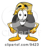 Clipart Picture Of A Hockey Puck Mascot Cartoon Character Wearing A Helmet by Toons4Biz