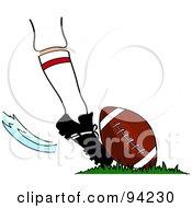 Athletes Foot Kicking An American Football