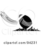 Black And White American Football With A Swift Wind