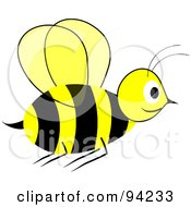 Yellow And Black Wasp In Flight