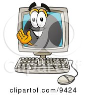 Clipart Picture Of A Hockey Puck Mascot Cartoon Character Waving From Inside A Computer Screen