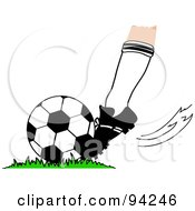 Royalty Free RF Clipart Illustration Of A Players Foot Kicking A Soccer Ball On A Field