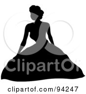 Royalty Free RF Clipart Illustration Of A Black Silhouetted Bride Sitting In Her Wedding Gown by Pams Clipart