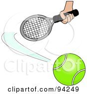 Royalty Free RF Clipart Illustration Of A Hand Swatting At A Tennis Ball by Pams Clipart