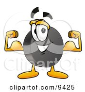 Clipart Picture Of A Hockey Puck Mascot Cartoon Character Flexing His Arm Muscles