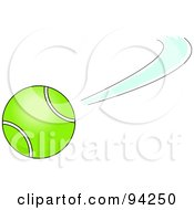 Royalty Free RF Clipart Illustration Of A Swiftly Moving Green Tennis Ball