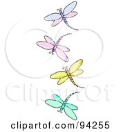 Vertical Border Of Purple Pink Yellow And Blue Dragonflies