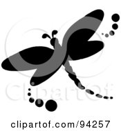 Royalty Free RF Clipart Illustration Of A Black Silhouetted Dragonfly Logo Or Icon by Pams Clipart