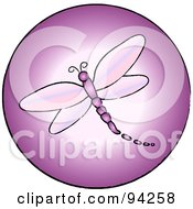 Royalty Free RF Clipart Illustration Of A Round Pink Dragonfly App Icon by Pams Clipart