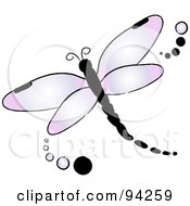 Royalty Free RF Clipart Illustration Of A Purple Flying Dragonfly Logo With Dots by Pams Clipart