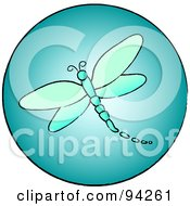 Royalty Free RF Clipart Illustration Of A Round Blue Dragonfly App Icon by Pams Clipart