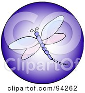 Royalty Free RF Clipart Illustration Of A Round Purple Dragonfly App Icon