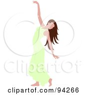 Royalty Free RF Clipart Illustration Of A Graceful Brunette Caucasian Woman Dancing In A Green Dress