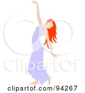 Royalty Free RF Clipart Illustration Of A Graceful Irish Woman Dancing In A Purple Dress