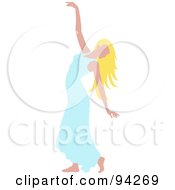 Royalty Free RF Clipart Illustration Of A Graceful Blond Caucasian Woman Dancing In A Blue Dress
