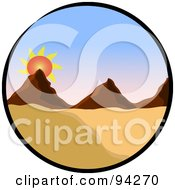 Royalty Free RF Clipart Illustration Of A Circle Scene Of A Sun Rising Over Mountains In A Desert Landscape by Pams Clipart