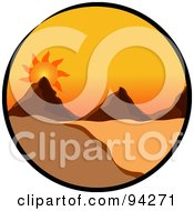 Royalty Free RF Clipart Illustration Of A Circle Scene Of A Sun Setting Over Mountains In A Desert Landscape by Pams Clipart