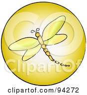 Royalty Free RF Clipart Illustration Of A Round Yellow Dragonfly App Icon by Pams Clipart