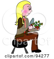 Pleasant Caucasian Woman Sitting On A Stool And Gardening