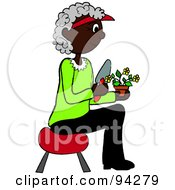 Senior African American Woman Sitting On A Stool And Gardening