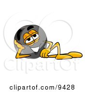 Clipart Picture Of A Hockey Puck Mascot Cartoon Character Resting His Head On His Hand
