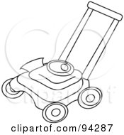 Royalty Free RF Clipart Illustration Of An Outlined Lawn Mower by Pams Clipart
