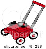 Royalty Free RF Clipart Illustration Of A Red And Black Lawn Mower by Pams Clipart