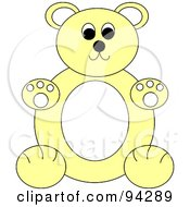 Royalty Free RF Clipart Illustration Of A Chubby Yellow And White Teddy Bear Sitting Upright