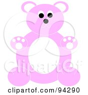 Royalty Free RF Clipart Illustration Of A Chubby Pink And White Teddy Bear Sitting Upright