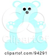 Royalty Free RF Clipart Illustration Of A Chubby Blue And White Teddy Bear Sitting Upright