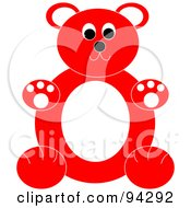 Royalty Free RF Clipart Illustration Of A Chubby Red And White Teddy Bear Sitting Upright