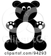 Royalty Free RF Clipart Illustration Of A Chubby Black And White Teddy Bear Sitting Upright
