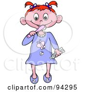Royalty Free RF Clipart Illustration Of A Little Irish Girl Brushing Her Teeth Before Bed Time by Pams Clipart