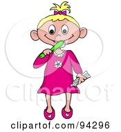 Royalty Free RF Clipart Illustration Of A Little Caucasian Girl Brushing Her Teeth Before Bed Time