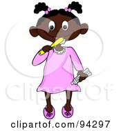 Royalty Free RF Clipart Illustration Of A Little African American Girl Brushing Her Teeth Before Bed Time by Pams Clipart