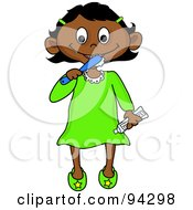 Royalty Free RF Clipart Illustration Of A Little Hispanic Girl Brushing Her Teeth Before Bed Time by Pams Clipart