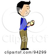 Royalty Free RF Clipart Illustration Of An Asian Boy Standing And Eating A Sandwich by Pams Clipart