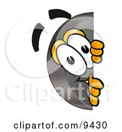 Clipart Picture Of A Hockey Puck Mascot Cartoon Character Peeking Around A Corner
