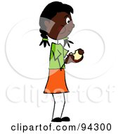 Royalty Free RF Clipart Illustration Of An African American Girl Standing And Eating A Sandwich by Pams Clipart