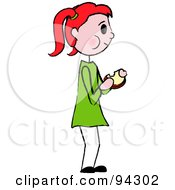 Royalty Free RF Clipart Illustration Of A Red Haired Caucasian Girl Standing And Eating A Sandwich by Pams Clipart