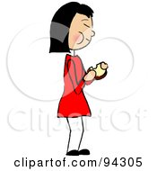 Royalty Free RF Clipart Illustration Of An Asian Girl Standing And Eating A Sandwich
