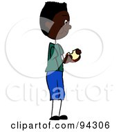 Royalty Free RF Clipart Illustration Of An African American Boy Standing And Eating A Sandwich by Pams Clipart