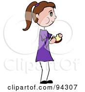 Royalty Free RF Clipart Illustration Of A Brunette Caucasian Girl Standing And Eating A Sandwich by Pams Clipart