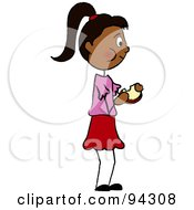 Royalty Free RF Clipart Illustration Of A Hispanic Girl Standing And Eating A Sandwich