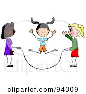 Royalty Free RF Clipart Illustration Of Three Diverse Stick Girls Jumping Rope