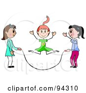 Royalty Free RF Clipart Illustration Of Three Stick Girls Jumping Rope by Pams Clipart