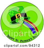 Happy St Patricks Day Greeting Of Clovers Gold Rainbow And Hat In A Circle