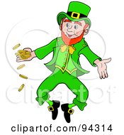 Happy Leprechaun Man Jumping And Tossing Gold Coins