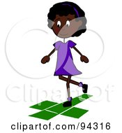 Royalty Free RF Clipart Illustration Of A Little African American School Girl Playing Hopscotch On A Playground